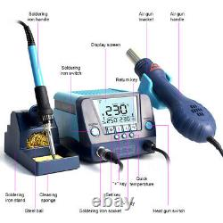 2 En 1 90w Smd Rework Soldering Iron Station Kit Hot Air Gun Digital LCD Display