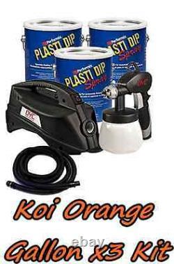 3 Gallons Koi Orange Performix Plasti Dip Dyc Dipsprayer Gun Bundle Kit Package