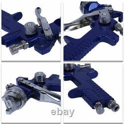 3 Hvlp Air Spray Gun Kit Auto Peinture Primer Voiture Détail Basecoat Verni Withcase
