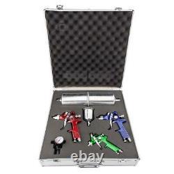 3 Hvlp Spray Gun Auto Paint Air Regulator & Kit Basecoat Car Primer Clearcoat
