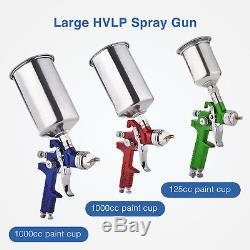 3 Pcs Hvlp Pistolets De Pulvérisation D'air Kit Peinture Automatique Apprêt De Voiture Couche De Fond Avec Couche