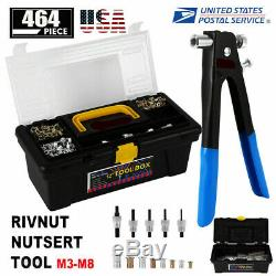 464x Rivet Nut Gun Kit Rivnut Outils De Réglage Nut Setter D'outils À Main Riveteuse