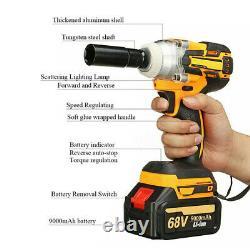 68v 9000mah Brushless Impact Wrench Torque Rattle Gun Kit Cordless 2 Batterie