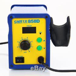 858d Smd Électrique Esd Rework Station De Soudage Pistolet À Air Chaud Dessouder Kit 110v