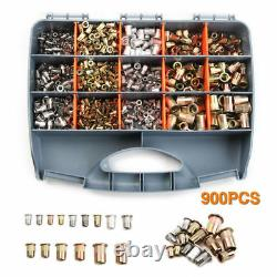 900pcs M3-m10 Acier Inoxydable Rivet Nuts Riveter Gun Set Insert Outil Mandrel Kit