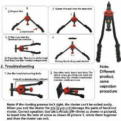 900pcs Rivet Gun Kit Rivnut Thread Réglage Outil Nut Setter Nutsert Metric M3-m10