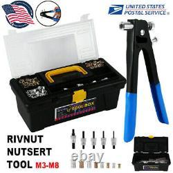 Aveugle Heavy Duty Fileté Rivet Écrou Gun Tool Kit Set Rivnut Nutsert Rivnut M3-m8