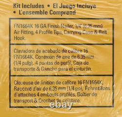 Bostitch 16ga Finition Pneumatique Nailer Kit Oil Free Nail Gun Tool Case Fn1664k