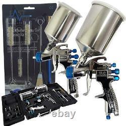 Devilbiss Slg-650 Gravity Fed Compliant & Hvlp Spray Guns + Guage & Kit De Nettoyage