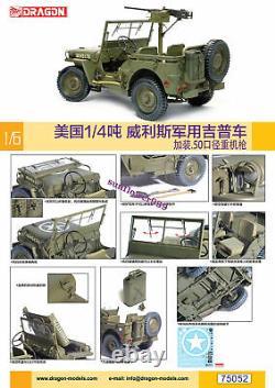 Dragon 75052 1/6 Nous 1 / 4 Tonnes Jeep Militaire Willis Avec Mitrailleuse Lourde 2019