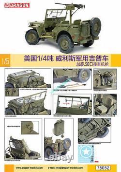 Dragon 75052 1/6 Us 1/4 De Ton Willis Jeep Militaire Avec Mitrailleuse Lourde 2019