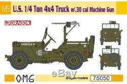 Dragon Us 1/4 Ton 4x4 Jeep Camion. 30 Cal Machine Gun 1/6 Modèle Kit Us Shipping