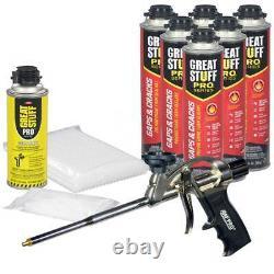 Great Stuff Pro Gaps & Cracks Kit (6) Boîtes De 24 Onces, Pistolet À Mousse, 100 Pailles Et Conseils
