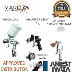 Iwata Triple Gun Kit- Ws400 De Hd Effacer + Az3 Chrome + De 1.8mm Az4 Junior 1.3mm