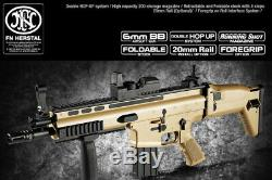Jouet Agf Airsoft Électrique Bb Gun Fn Scar-l Cqc Fusil D'assaut Tan Fold Hopup Or