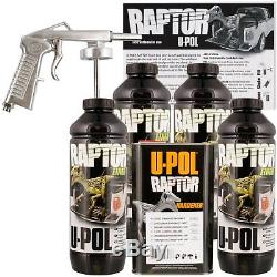 Kit De Doublure De Caisse De Camion Noir U-pol Raptor Avec Pistolet Pulvérisateur Gratuit, 4 Litres Upol