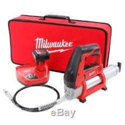 Kit Pistolet Graisseur Milwaukee M12 Avec Chargeur De Batterie 3 Ah Et Étui Souple 2446-21xc