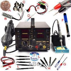 Kits 4 In1 Station De Soudage De Reprise À Chaud Pistolet À Air Chaud Bloc D'alimentation Usb 110v 909d +
