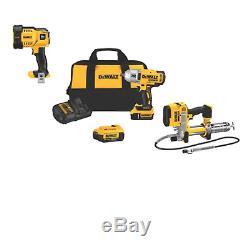 Le Kit D'outils Dewalt 20v 3 Dck397hm2 Comprend Un Pistolet Graisseur ½ Impact Dcf899hb & Dcgg571