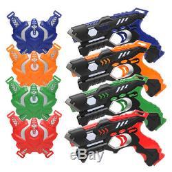 Lot De 4 Petit Laser Gun Kit Avec 4 Gilets (rouge / Bleu / Vert / Orange)