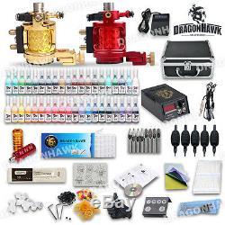 Machine Complète Tatouage Rotary Kit Débutant 40 Encres Couleur 2 Gun Alimentation Set