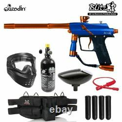 Maddog Azodin Blitz 4 Silver Hpa Paintball Pistolet Marker Kit De Démarrage Bleu / Orange