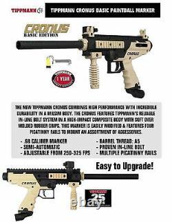 Maddog Tippmann Cronus Basic Tactical Titanium Hpa Paintball Gun Starter Kit Tan