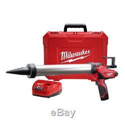 Milwaukee 2442-21 M12 Li-ion 20 Oz. Kit De Pistolet À Baril Et Adhésif En Aluminium Nouveau