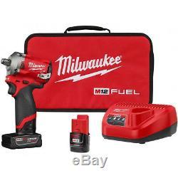 Milwaukee 2555-22 M12 Fuel - Kit De Clé À Canon À Percussion Sans Entraînement À 1/2 Entraînement Sans Cordon