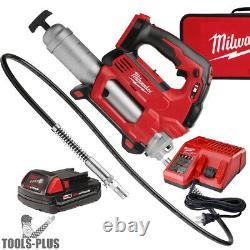 Milwaukee 2646-21ct 18 Volt Li-ion Cordless 2-speed Grease Gun Kit 10,000psi Nouveau