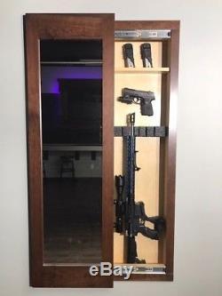 Noir Caché Miroir De Stockage Armoire Murale Pistolet Coffre-fort Armoire De Dissimulation Fusil Ar Pistolet