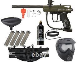 Nouveau Kingman Spyder Victor Epic Complete Paintball Gun Kit Paquet Olive Green