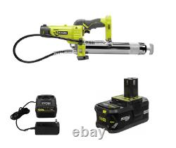Nouveau Kit De Pistolet À Graisse Sans Fil Ryobi 18v P3410 Avec Batterie Et Chargeur P197 4.0ah