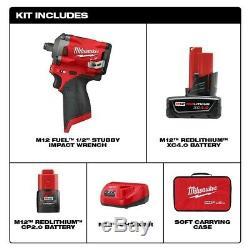 Nouveau Milwaukee 2555-22 M12 Fuel 1/2 Entraînement Stubby Impact Gun Kit Clé 1/2 Pouce