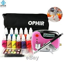 Ophir 12 Couleurs Nail Encres Pigmentées Airbrush Pistolet Compresseur D'air Kit Avec Des Pièces D'ongles