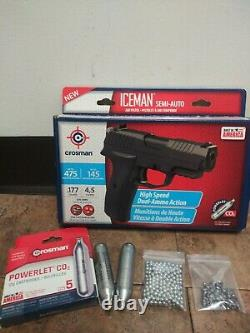 Pellet Bb Gun Air Pistol Kit Co2 Powered 475fps. 177 Cal Crosman Iceman Nouveau 2day
