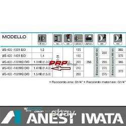Pistolet De Pulvérisation Anest Iwata Ws-400 Evo 1.4 Effacer Hd Pro Kit Par Pininfarina