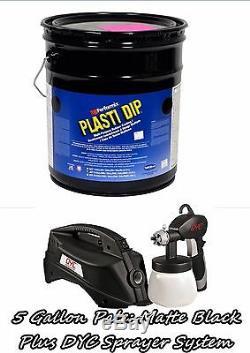 Plasti Dip Noir Mat 5 Gallon Pâle Seau Dyc Dipspayer Système Kit Gun Pulvérisateur
