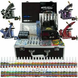 Solong Tattoo Kit Complet Tattoo Gun 4 Machines 54 Ink Set Power Avec Étui Tk456