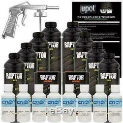 U-pol Raptor Gm Blanc Uréthane Spray Sur Camion Doublure De Caisse Withfree Pistolet 8 L