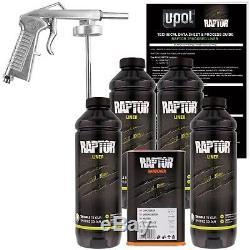 U-pol Raptor Kit De Doublure De Caisse De Camion À Projeter Avec Uréthane Teinté Avec Pistolet À Pulvérisation, 4 Litres