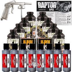 U-pol Raptor Kit De Revêtement De Lit Métallisé Au Charbon, Anthracite, Avec Pistolet Pulvérisateur, 8l Upol