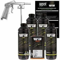 U-pol Raptor Noir Spray Sur Camion Liner Kit De Revêtement De Peinture Avec Gun Up0820