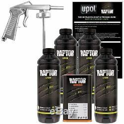 U-pol Raptor Noir Uréthane À Vaporiser Camion Doublure De Caisse Kit Withspray Gun, 4 Litres