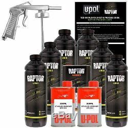 U-pol Raptor Noir Uréthane Spray Sur Camion Doublure De Caisse Kit Avec Free Pistolet, 6 L