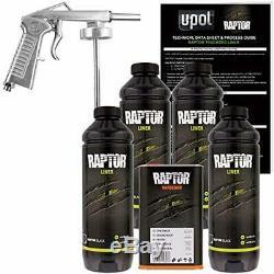 U-pol Raptor Noir Uréthane Spray Sur Camion Doublure De Caisse Kit Withfree Pistolet, 4 Lit