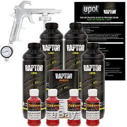 U-pol Raptor - Pistolet Pulvérisateur À Revêtement De Lit De Camion, Peinture Rouge, Hot Rod, 4 Litres