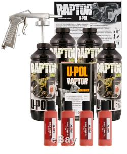 U-pol Raptor Teinter Orange Sécurité Bedliner Kit Pistolet, Upol 4l