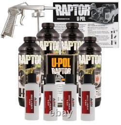 U-pol Raptor Tintable Blanc Lit Liner Kit Avec Gun Spray, 4 Litres Upol